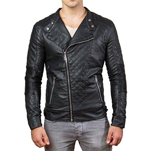 Prestige Homme Herren-Jacke Kunst-Leder Biker Gesteppt MR04 Schwarz