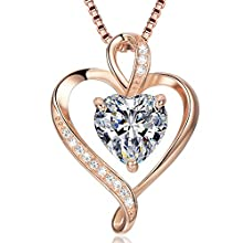 Heart Necklace for Women 925 Sterling Silver Rose Gold Love Pendant Womans Necklaces 5A Cubic Zirconia Gifts for Wife Mum Friend Birthday Anniversary Day (Rose Gold, 45.00))