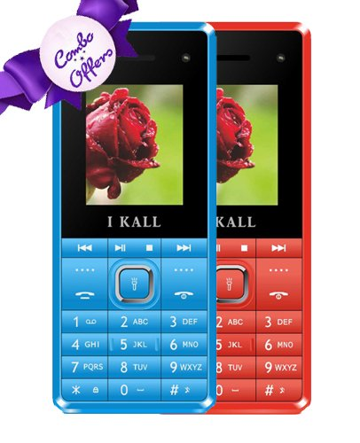 I KALL K2180 Dual Sim 1.8 Inch Display COMBO OF TWO Basic Feature Mobile Phone With Bluetooth, Dual Camera, GPRS, Flash Light,1000 Mah Battery Capacity And 1 Year Manufacturer Warranty- Blue & Red