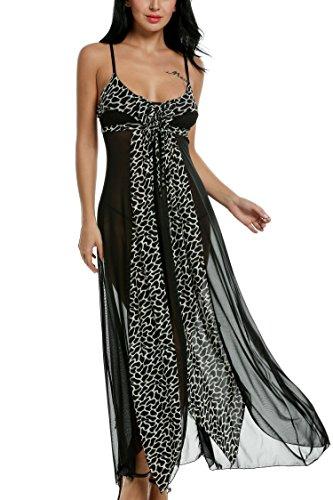 INZOE Dessous Leopard Patchwork Asymmetrische Nachthemd Sexy V-Ausschnitt Nachtwäsche Ärmellos Chemise Reizwäsche Pyjamas Kleid Transparente Damen Robe Lang Mesh Mit Slip
