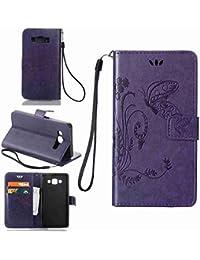 Funda Para Samsung Galaxy A5 (2015 Version , 5 pulgada) , pinlu® Alta Calidad Función de plegado Flip Wallet Case Cover Carcasa Piel PU Billetera Soporte Con Mariposa Grass Púrpura