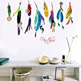 Oren Empower Colorful Feathers Wall Sticker (Finished Size On Wall - 100(w) X 70(h) Cm)