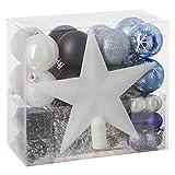 Lot déco Noël - Kit 44 pièces pour décoration sapin : Guirlandes, Boules et Cimier - Thème couleur : Blanc, Gris Argent, Noir et Bleu Nuit