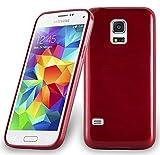 Cadorabo DE-104637 Samsung Galaxy S5 Mini / S5 Mini DUOS (G800F) Handyhülle aus TPU Silikon in gebürsteter Edelstahloptik (Brushed) Rot
