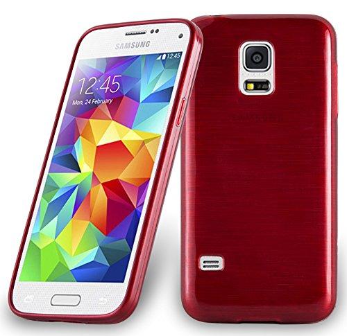 galaxy s5 duos Cadorabo DE-104637 Samsung Galaxy S5 Mini / S5 Mini DUOS (G800F) Handyhülle aus TPU Silikon in gebürsteter Edelstahloptik (Brushed) Rot