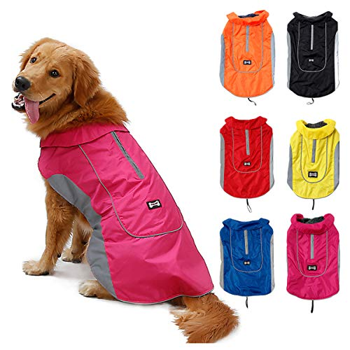 Warm Dog Coat With Fleece Lining Reflective Stripes