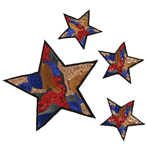 4 parches XL termoadhesivos lentejuelas y bordados estrellas super guays para cazadoras, pantalones, zapatillas, ropa, estuches maquillaje, neceser, mochila scrapbooking, costura.. de OPEN BUY