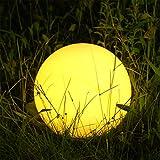 Albrillo RGB Solarleuchte Garten Kugel mit Fernbedienung, USB Wiederaufladbar Kugellampe, Wasserdicht IP68 für Schwimmbad und Outdoor, Ø 20cm