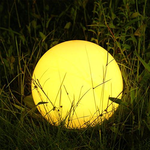 Albrillo RGB Solarlampe Außen - LED Solar Kugel mit Fernbedienung, Durchmesser 20cm mit 12 Farben, 1200mAh USB Aufladbar Kugellampe, Wasserdicht IP68 für Teich und Garten