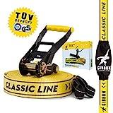 Gibbon Slacklines Classic Line, Gelb, 15 Meter (12,5m Band + 2,5m Ratschenband), für Anfänger, Beginner und Einsteiger, inklusive Ratschenschutz und Ratschenrücksicherung, 50 mm breit, perfekter Freizeitsport
