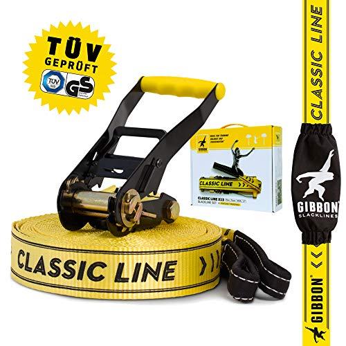 Gibbon Slacklines Classic Line, Gelb, 15 Meter (12,5m Band + 2,5m Ratschenband), für Anfänger, Beginner und Einsteiger, inklusive Ratschenschutz und Ratschenrücksicherung, 50 mm breit, perfekter Freizeitsport 50 Mm-modul
