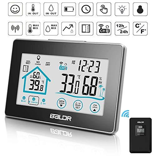 BALDR Wetterstation Funk mit Außensensor,Raumthermometer Digital LCD Thermometer Hygrometer Innen Außen, Digitales Weather Station Temperature(Schwarz)