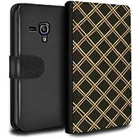 STUFF4 PU Pelle Custodia/Cover/Caso/Portafoglio per Samsung Galaxy S3 Mini / Giallo/nero / Criss cross pattern disegno