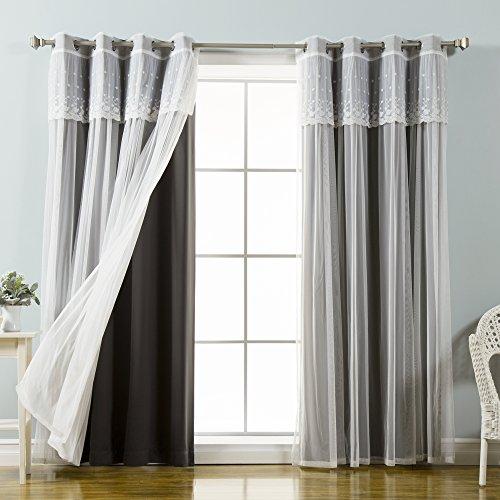 Best Home Fashion Volant und Blackout Vorhang Set, Schwarze, 52W x 84L