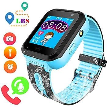f89c96c78 Reloj GPS Tracker Impermeable para Niños - Smartwatch Resistentes al Agua  Teléfono con Localizador GPS LBS Juegos de Chat de Voz Cámara para Juegos de  ...