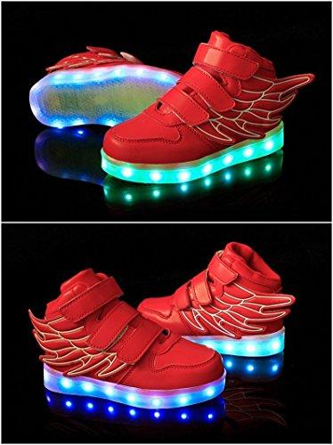 Aidonger Scarpe da ginnastica per bambini/bambine con decorazione ali d'angelo Unisex 7colori Sneaker cambia colore Ricarica tramite ingresso USB, LED lampeggiante Rot