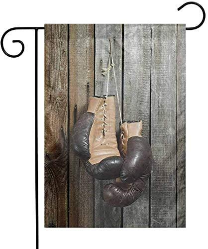 Shinanla Dekorative Garten-Flaggen-Weinlese-Weinlese-Boxhandschuhe auf Alter hölzerner Hintergrund-Antiken-Ausrüstungs-dekorativer Foto-Kunst passend für das Hof-Brown