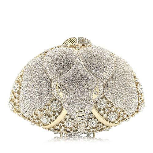 Zhongsufei Umschlag-Art-Beutel-Kupplung Handbesetzte Strass Elefant Dinner Animal Model Damen voller Strass Handtasche Geldbörse Hochzeit Prom Party Box Handtasche (Farbe : Gold) -