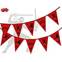 PARTY DECOR Red with Black Print Ninja Happy Birthday Themed Bunting Banner 15 flags for simply awesome boy man tough party decoration