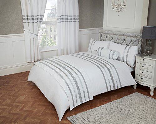 King Size Bed Glitz White With Silver Trim, Duvet / Quilt Cover Bedding Set, Luxurious 200 Thread Count 100% Egyptian Cotton With Ribbon Detailing