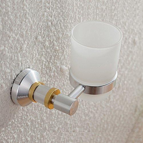 ZHUCHANGJIANG ZC&J Salle de bains de style européen porte-brosse à dents accessoires de salle de bains en aluminium dessin artisanat salle de bain doré décoratif mural brosse à dents tasse