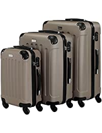VonHaus 3 Pc Extra Strong ABS Luggage Set + YKK Zip + 4 Double Wheels