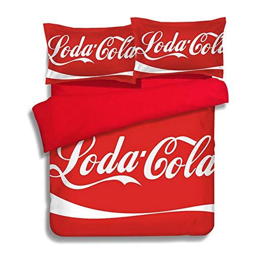 JLWF Bettwäschesätze Flag Pattern 23 24 Team Style Antiallergic Soft Smooth Mit Kissenbezügen Fade Resistant Bettwäsche-Sets Coca Cola-1.2m (4 feet)