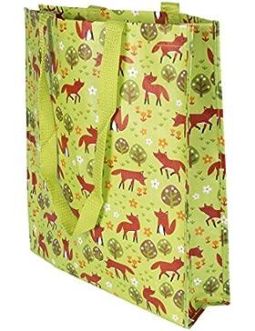 Sass & Belle Kunststoff Einkaufen Umhängetaschen Tote Bag - Frühling Wald Fuchs Spring Forest Fox