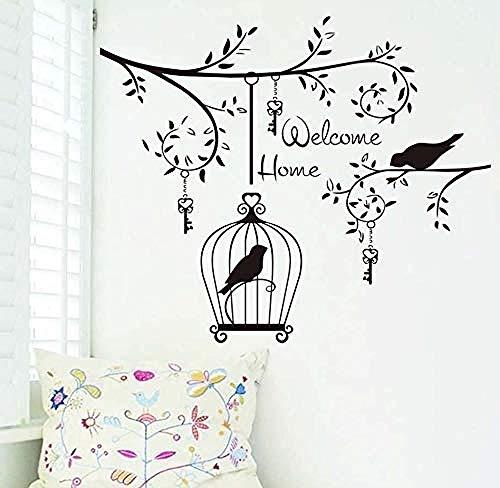 Willkommen Zu Hause Vögel Im Baum 69X58 Cm Wandaufkleber, Für Wohnzimmer Dekoration Hängen Schlüssel Und Vogelkäfig Kreative Abnehmbare Vinyl Kunst Wandaufkleber (Willkommen Zu Hause Baby-dekorationen)