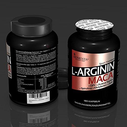 BIOMENTA L-ARGININ + MACA HOCHDOSIERT   AKTIONSPREIS!!!   2.000 mg Arginin + 4.000 mg Maca + OPC-Traubenkernextrakt + Zink + Avena Sativa + Spirulina Algen pro Tag   180 L-Arginin-Maca-Kapseln - 4
