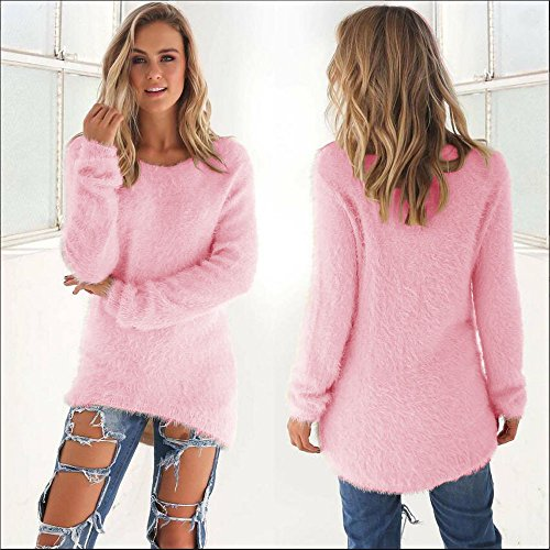Malloom Chemisier Femmes Casual Solid Long Pull Manches Longues Rose