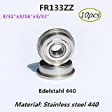 Flange bearing Rodamientos de brida Acero inoxidable 440 Cojinetes en miniatura 10 piezas (FR133-ZZ)