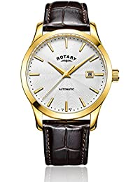 Rotary Men's Automatic Watch with Silver Dial Analogue Display and Brown Leather Strap GS00657/06
