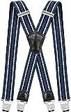 Decalen Hosenträger für Herren Breit 4 cm mit sehr Starken 4 Metall Clip Lang Einheitsgröße für Männer und Damen Einstellbar und Elastisch X Style (Blau Weiß Schwarz)