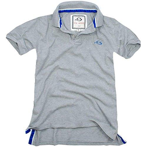 COX SWAIN Athletic-fit Vintage POLO SHIRT, Colour: Grey, Size: L (Golf-shirt Gestickt Pique)