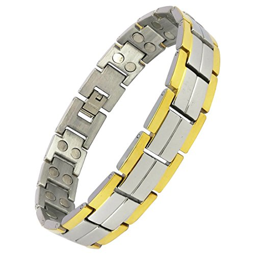 Magnaz Yellow Golden, Silver Titanium Plated Bio Magnetic Therapy Bracelet for men and women  available at amazon for Rs.1299