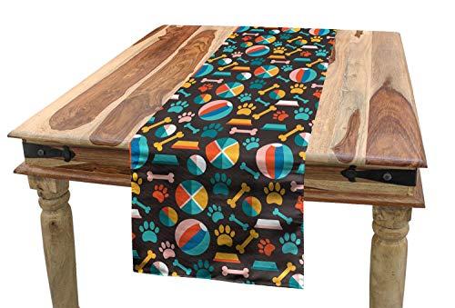 ABAKUHAUS Hunde Tischläufer, Welpenfutter Spuren und Spielzeug, Esszimmer Küche Rechteckiger Dekorativer Tischläufer, 40 x 300 cm, Mehrfarbig