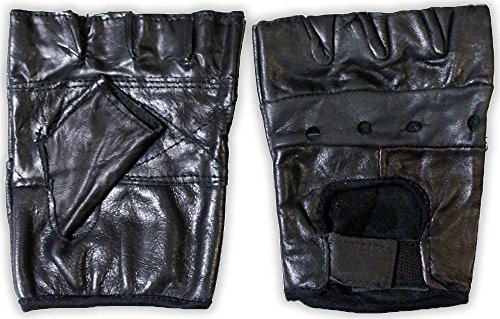 toolusa Men's Size Large, Black Leather Gloves with Ventilation Holes sans doigts : GL-38856 Z02 : 50002 (Pack Of 2 Pairs)