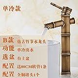 SADASD Europäische Waschbecken Wasserhahn Kupfer Antik Antike Doppel Waschbecken Wasserhahn Warmes und Kaltes Wasser Keramik Ventil mit G3/8 Edelstahl Schlauch Tippen