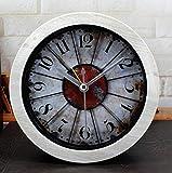 Olydmsky Standuhren analog Vintage Retro Eisen Uhr kreative alte Stereo-hölzerne Desktop-Mute Sit Uhr 12 * 12cm