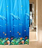 Dolphin Tropical Fish Coral Ocean Theme Bath Shower Curtain with 12 Hooks Multicolor
