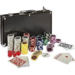 Maxstore - 20030018 Coffret de poker ultime Black Edition - 300 jetons laser 12 g avec insert en métal - 2 jeux de cartes en plastique - 5 dés - 1 bouton dealer - mallette noire en aluminium