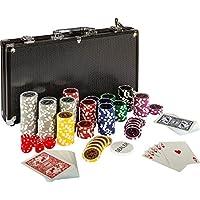 Ultimate Black Edition Juego de póquer, 300alta calidad 12gramos metal Núcleo Laser chips, 100% Tarjetas de plástico, 2x Poker Barajas, aluminio maletín de póquer (, 5x, cuadrada, 1x Dealer Button, póquer, Juego, póquer, maletín, fichas
