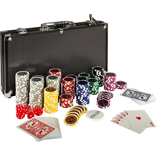 NO.1 BETTING ULTIMATE BLACK EDITION POKER SET WITH 300 PREMIUM 12G METAL CORE LASER CHIPS, 100% PLASTIC CARDS, 2 X POKER DECK, ALUMINIUM POKER CASE, 5 X DICE, 1 X DEALER BUTTON, POKER, SET, POKER CHIPS, CASE