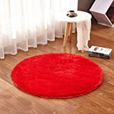 TMJJ Home TMJJ Round Shaggy Living Room Bedroom CarpetsComputer ChairFloor Mat Yoga Mat Home Decorative Area Rugs Comfortable and Soft39.37 x 39.37-''esRed