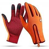 Anti-Rutsch Motorrad Winter Warm Outdoor Sport Wandern Radfahren Damen Herren Full Finger Touch Screen Handschuhe (L /Plam width:3.34in, Orange)