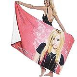 DSSYEAH Serviette De Plage en Microfibre pour Femmes Avril Lavigne Serviette De Bain Couverture De Plage Serviette À Séchage Rapide pour Piscine Voyage Yoga Piscine Gym Sport 80X130Cm