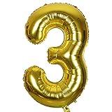 SMARCY Ballons pour la Décoration d'Anniversaire 3 Ans Grand Chiffre 3