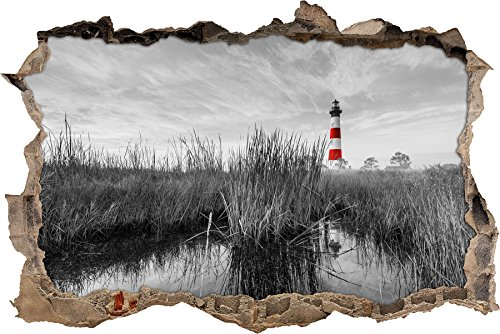 Pixxprint 3D_WD_5185_62x42 Bodie Island Lighthouse in North Carolina Wanddurchbruch 3D Wandtattoo, Vinyl, schwarz / weiß, 62 x 42 x 0,02 cm