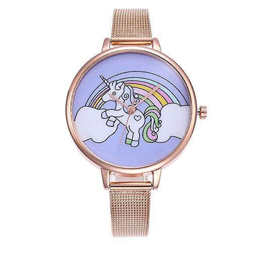 Souarts Damen Armbanduhr Einfach Mesh Metallarmband Flamingo Ananas Einhorn Regenbogen Casual Analoge Quarz Uhr Silber Farbe Einhorn Mädchen Uhr (Rosa gold 2)